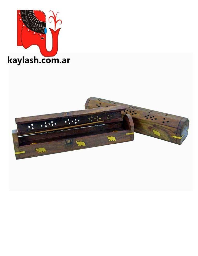 Porta sahumerio de madera tipo bául