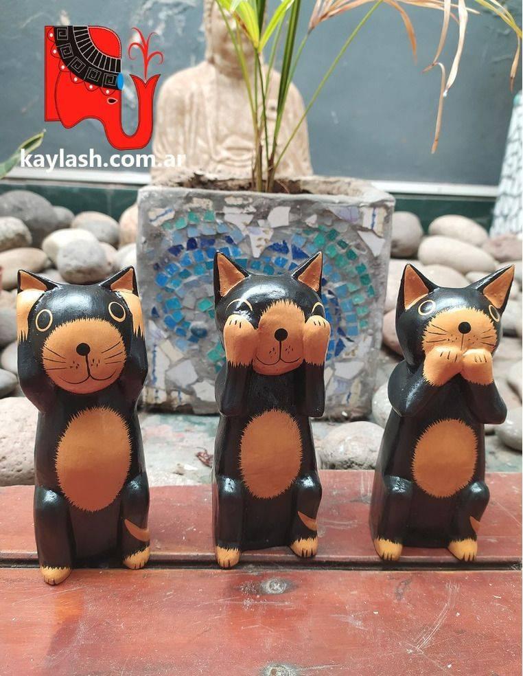 Set de gatos en madera Origen: Indonesia