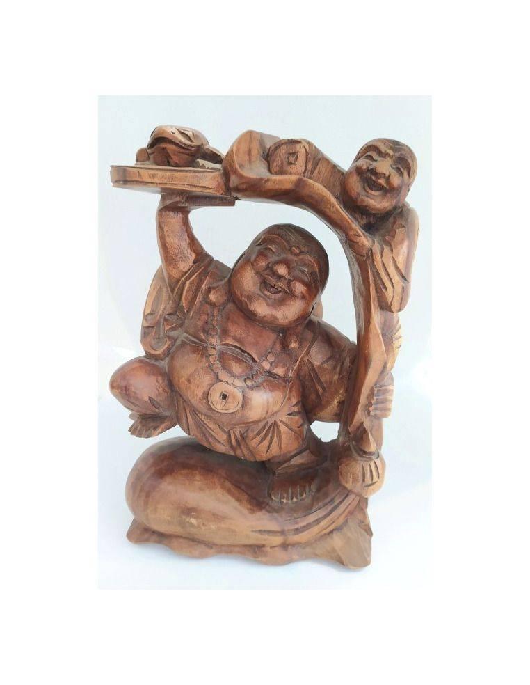 Buda feliz tallado en madera suar