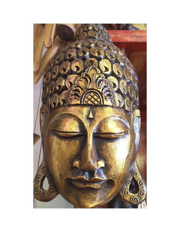 Máscara de Buda tallada en badera y pintada a mano