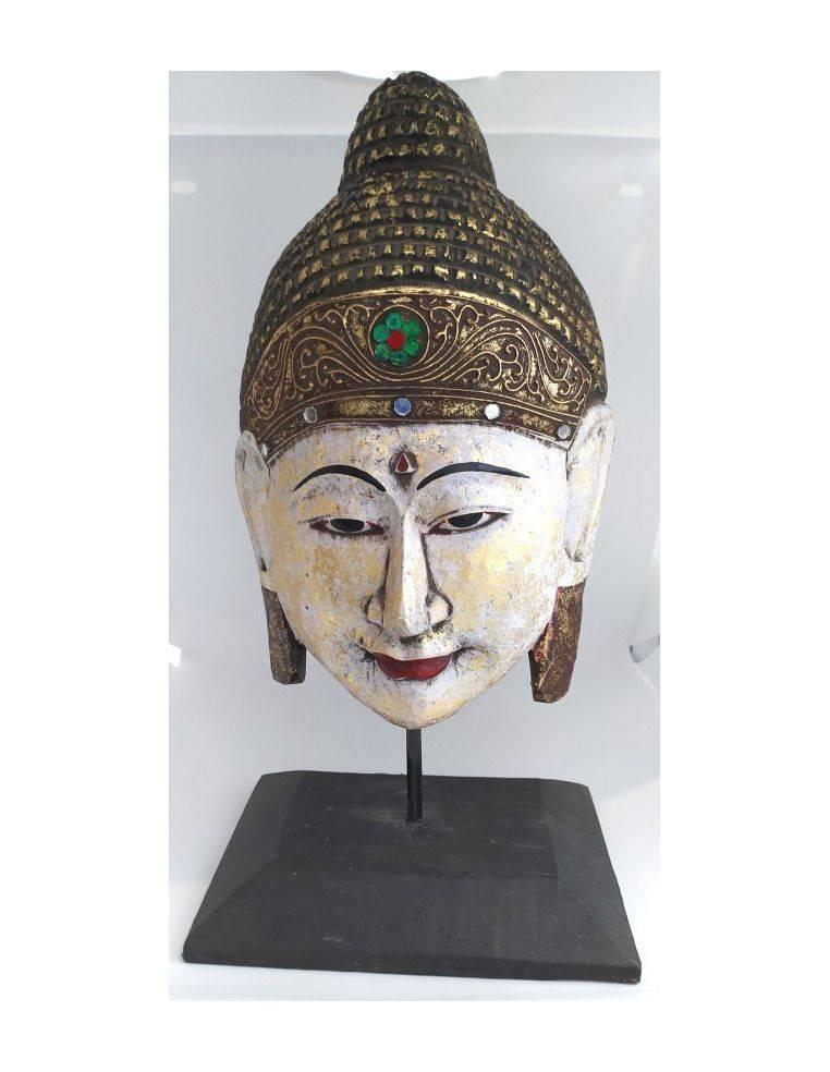 Máscara de buda con base antiq Origen: Indonesia
