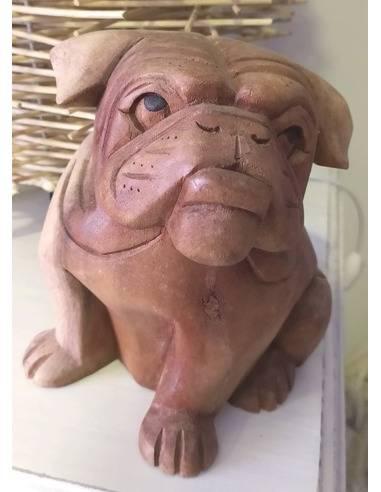 Perro buldog madera 15cm Origen: Indonesia