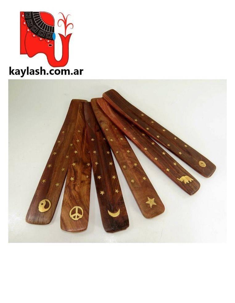 Porta sahumerio de madera con inscrustaciones de cobre